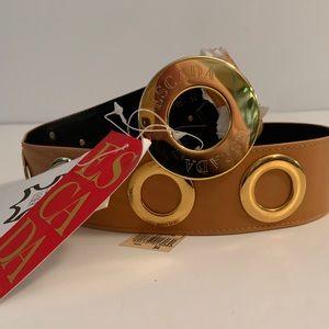 Vintage Escada Leather Belt with Grommet Details